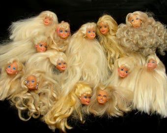Blonde barbie doll lot-vintage barbie heads lot-beautiful barbie heads-platinum blonde barbie heads-old barbie doll lot-vintage barbie lot
