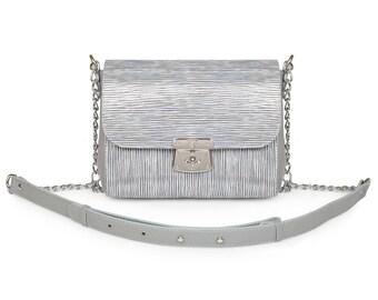 Leather Cross body Bag, Grey Leather Shoulder Bag, Women's Leather Crossbody Bag, Leather bag KF-908