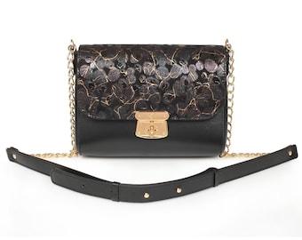 Leather Cross body Bag, Black Leather Shoulder Bag, Women's Leather Crossbody Bag, Leather bag KF-914