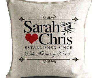 PERSONALISED Wedding Cushion Cover Pillow Cover Anniversary Gift bride and groom - Classic Vintage Retro Style - 16 inch 40cm