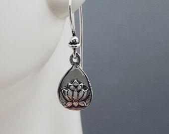 Lotus Earrings. Sterling silver lotus charm earrings. Waterlily earrings. Teardrop flower earrings. Zen Buddhist Yoga jewelry