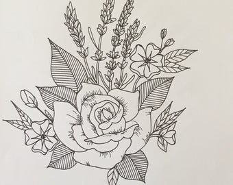 Floral drawings. Made to order