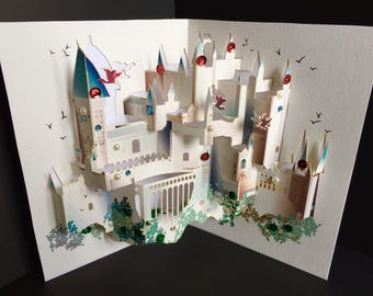 Harry Potter Exclusive/Happy Birthday/For Him/For Her/Kids/Prince/Princess/Just To Say/Get Well Soon 3D Pop Up Hogwarts Castle Handmade Card