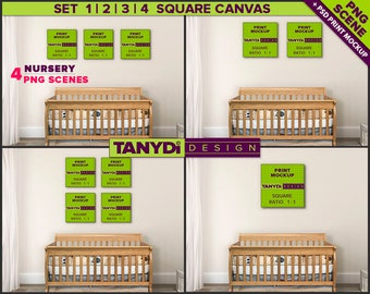 Square Canvas Photoshop Print Mockup C-N1 | Set of canvas on Nursery wall | Wood crib
