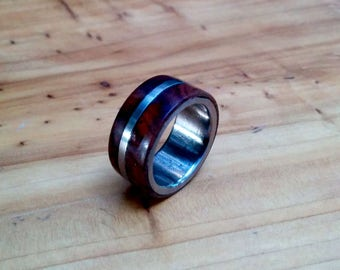 Titanium Cocobolo Wood Ring.  2.5mm X 10mm Thick and Wide.
