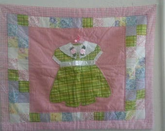 Darling quilted and embroidered pillow sham/Shabby Chic/Home Decor/Bedding/Vintage Bedding