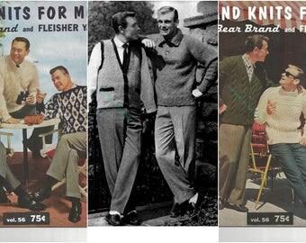 26 Vintage 1961 PDF Patterns:  Hand Knits for Men - Cardigans, Pullovers, Vests, and More!