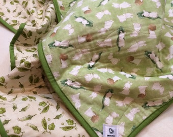 Sweet Bears, Bunnies, Pea Pods, Baby Whole Cloth Quilt