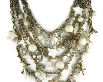 Ocean Theme Layered Statement Necklace