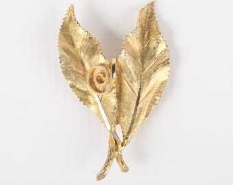 "1970's BSK Textured 3D Double Leaf and Curly Cue Leaf Brooch, Near MINT, 2-1/2"" H X 1-1/2"" W."