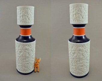 Rare vintage bisque op art porcelain vase by KPM / modell 634 3 | West Germany | 70s