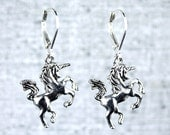 Unicorn earrings on sterling silver leverback hooks