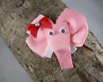 NEW pink elephant ribbon art hair clip