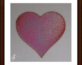 Mylar Heart Machine Embroidery Design Pattern for 4x4 Hoop by Titania Creations. Instant Download