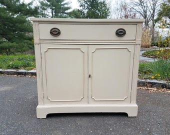 SOLD! Hand Painted Shabby Chic Small White Antique Buffet / Sideboard / Credenza / Cabinet - Local Pickup / Delivery Only