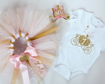First Birthday Outfit - Pumpkin Princess Birthday - Personalized - Birthday Tutu - Pink and Gold - Pumpkin Headband - 1st Birthday Fall