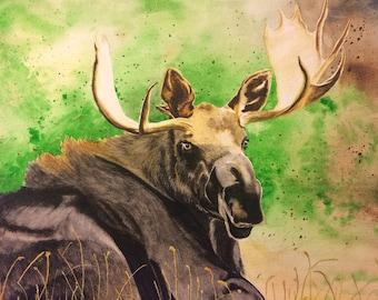 Watercolor Moose, Art Print, Alta, Utah