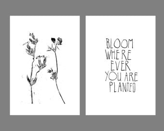 A4 poster, choose 1 poster or buy them both: fabulous (letterpress) + composition of fern leaf (monoprint)