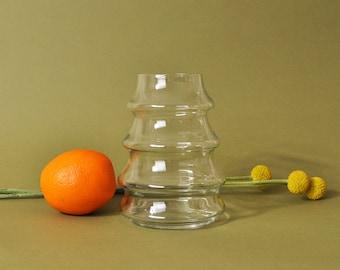 Ribbed Glass Vase, Small 80s Vase, 80s Modern Vase, 80s Home Decor, Vintage 1980s Vase, Minimalist Home Decor, Minimal Glass Vase