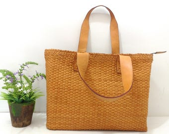 Woven Leather Tote Tan 0,5 cm