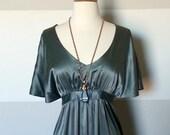 Vintage Jewel Tone Soft Emerald, Blue Green Gray, Satin Kimono Dress with Empire Waist and Tie Back Sash