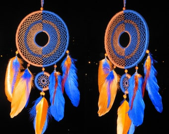 "Dreamcatcher ""Sun and Moon"" \ Large Dream catcher \ attrape reves \ Traumfanger \ Acchiappasogni \ blue mobile \ Wall Hangings \ Decor"
