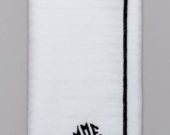 Stripped Cotton Monogrammed Pocket Square