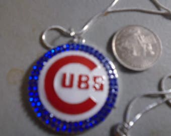 Chicago Cubs bling pendant on 24 inch chain w/ lobster clasp