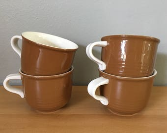 Sweet vintage set of 4 Mikasa handled mugs for coffee tea or cocoa in light latte brown & rich creamy white for Boho breakfast table!