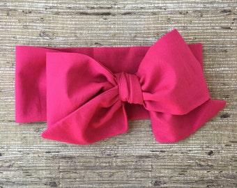 Fushia Pink, white, headwrap, headband, big bow, top know