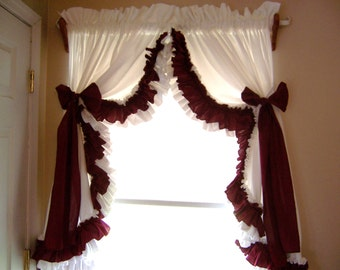 Brown and white double ruffle curtains, custom curtains, white curtains, brown curtains