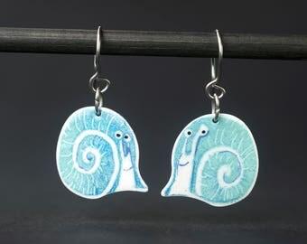 Illustrated Earrings, Slug Earrings, Fun Snail Earrings, Dainty Design, Stainless Steel, Wereable Art, Playful Jewelry, Illustrated Jewelry