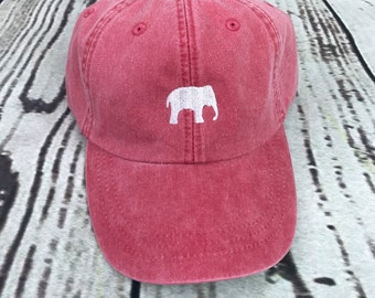 Elephant hat, Elephant baseball hat, Elephant baseball cap, pigment dyed hat, Gameday hat, Alabama hat