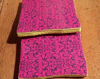 Recycled Handmade Ceramic Tile Coasters Set of Two Purple/Pink/Yellow Damask Design