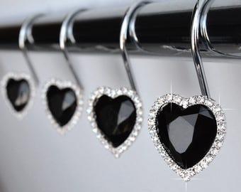 shower curtain hooks rings heart black decorative gems and bling rhinestones bath gift idea valentine