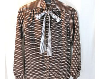 Brown and white polka dot polyester blouse long sleeve SEARS The Fashion Place size 12 with bow tie collar