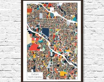Durham NC Map Print, Durham NC, Durham Art, Map Art, Durham Poster, City Map Artwork