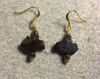 Black agate gemstone flying dove bead earrings adorned with dark brown Chinese crystal beads.