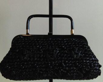 Vintage Black Rafia Purse.