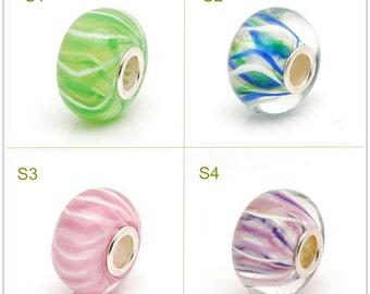 Lampwork 7x14mm Glass Bead Color Stripe Glaze Bead 4.5mm Hole Silver Copper-nickel Bead Fit European Charm Bracelets Big Hole Bead DIY Bead