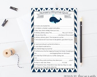Whale Baby Shower Game , Nursery Rhyme Quiz , Boy Baby Shower Games , Whale Baby Shower Quiz , Printable , Instant Download