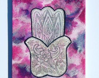 Hamsa Hand Canvas Painting, original design, one of a kind painting! Hand of Fatima Canvas