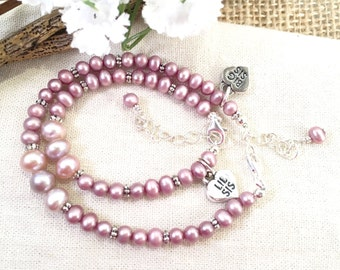 Big and Little Sister Pearl Bracelets in Sterling, Pink Pearl Sister Charm Bracelets, White Pearl Sister Sterling Charm Bracelets