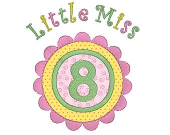 8th Birthday Number Applique Machine Embroidery Design, Instant Download Little Miss 8 Birthday Number Embroidery Design no: JGS00022-12