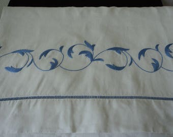 Bargain -  Stunning French Vintage pure linen blue embroidered sheet (04735)