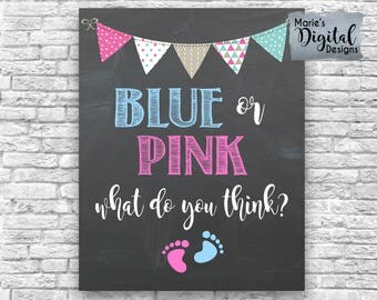 INSTANT DOWNLOAD Blue Or Pink What Do You Think - Printable Gender Reveal Party Decor Sign Welcome Chalkboard / Baby Blue Pink Boy Girl JPEG