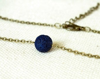 Oil Diffuser Necklace, Navy Blue Lava Necklace, Dainty Choker Necklace, One Bead Necklace