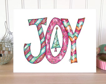 CHRISTMAS CARD: Joy Christmas Card. Whimsical Holiday Card. Joy Holiday Card. Folded Greeting Card. Hand Drawn Christmas Greeting. Tree Card