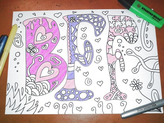 Bff coloring best friends forever teens gale girl friendship for Mandala facili da disegnare