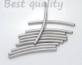 20-100pcs--Metal beads, 2x32mm, curved tube, Stainless Steel (B6-6)